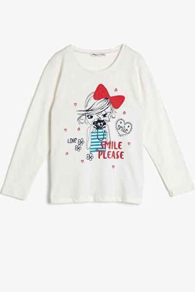 Kız Çocuk Beyaz Bisiklet Yaka Baskılı T-Shirt