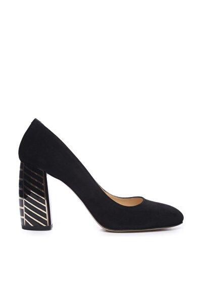 Hakiki Deri Siyah Kadın Topuklu Ayakkabı 22 926 BN AYK