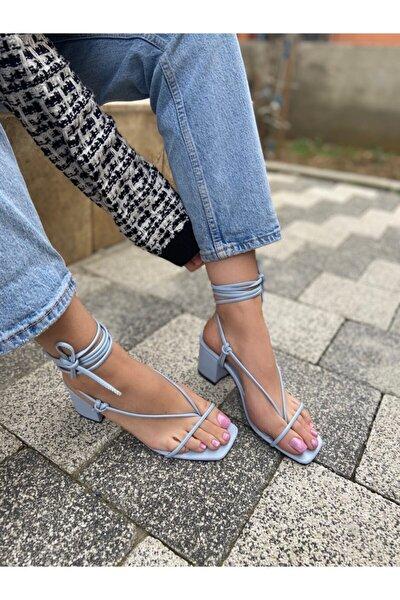 Mavi Kadın Ip Detay Parmak Arası Topuklu Sandalet