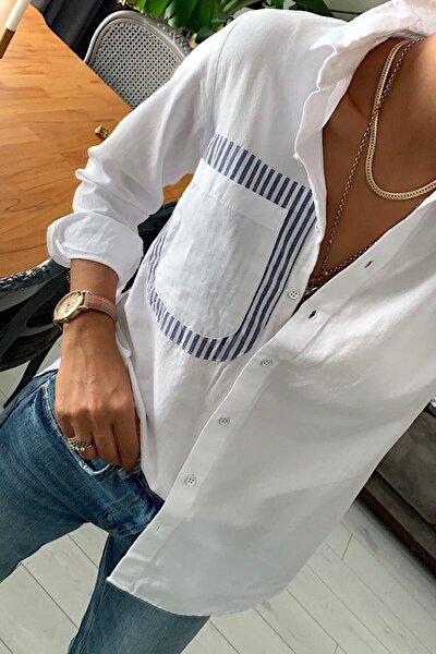 Kadın Beyaz Sırtı Pencereli Pamuk Gömlek Mrg010001