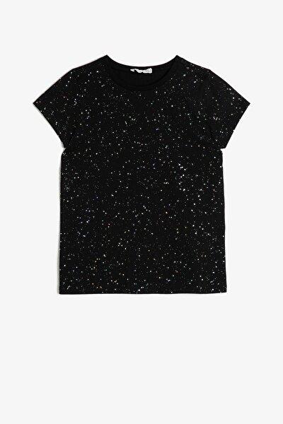 Kız Çocuk Siyah Sim Detaylı T-Shirt 0YKG17895AK