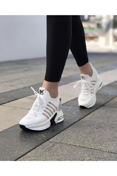 Kadın Beyaz Gizli Topuk Yüksek Taban Sneaker