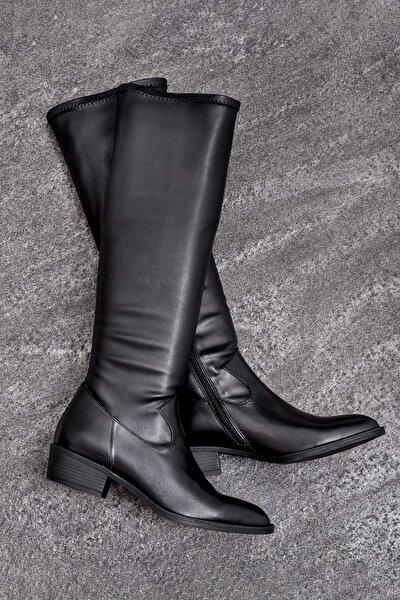 ELIJA Hakiki Deri Kadın Siyah Çizme