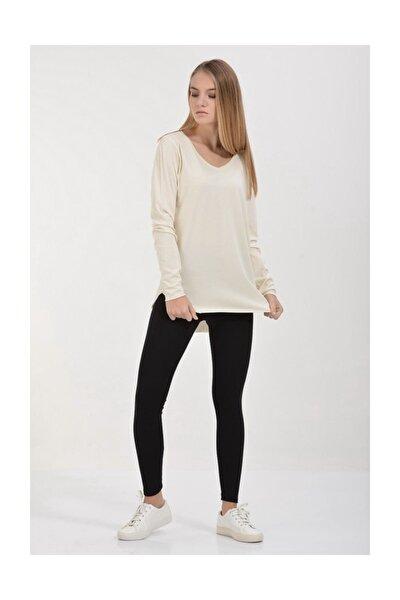Basic V Yaka Uzun Kol T-shirt - Krem
