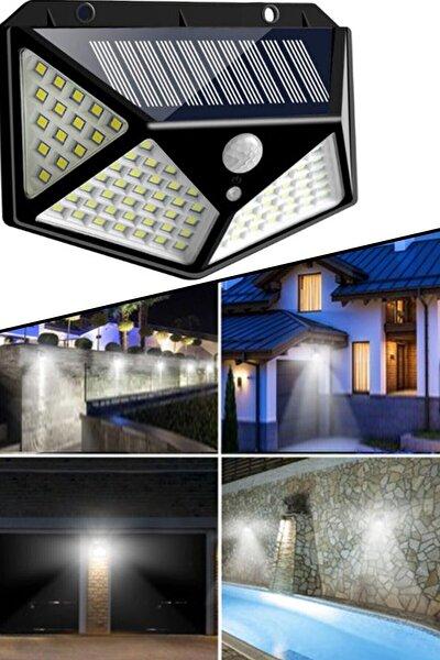 Işık Sensörlü Güneş Enerjili Solar Duvar Kapı Kamp Bahçe Lambası Fotoselli Projektör 100 Led Lambalı