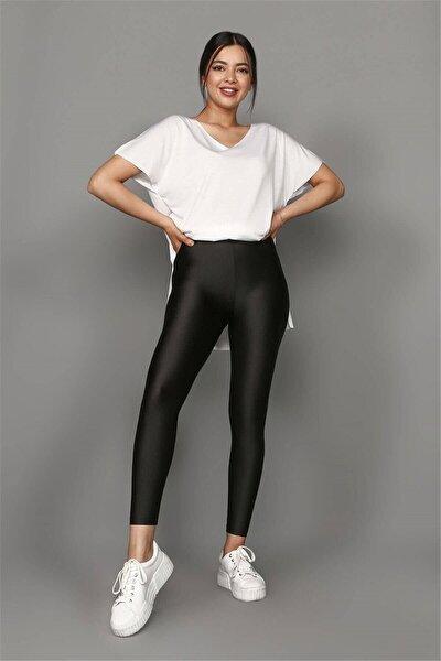 Kadın Siyah Yüksek Bel Toparlayıcı Parlak Disco Tayt