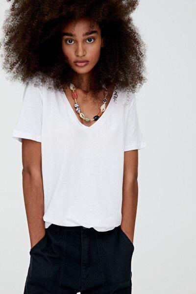 Kadın Beyaz V Yaka Pamuklu T-Shirt 05234358