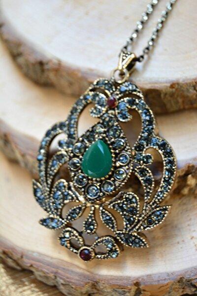 Jewellery Kök Zümrüt Taşlı Otantik Kadın Kolye