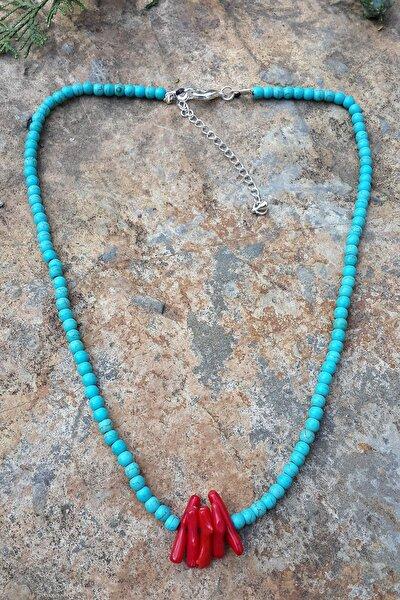 Jewellery Mercan Doğal Taş Turkuaz Kolye