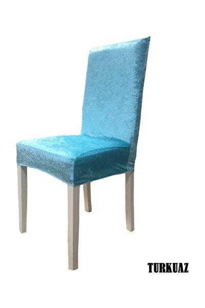 Ipek Kadife Likralı Sandalye Kılıfı  6 Lı Paket Turkuaz