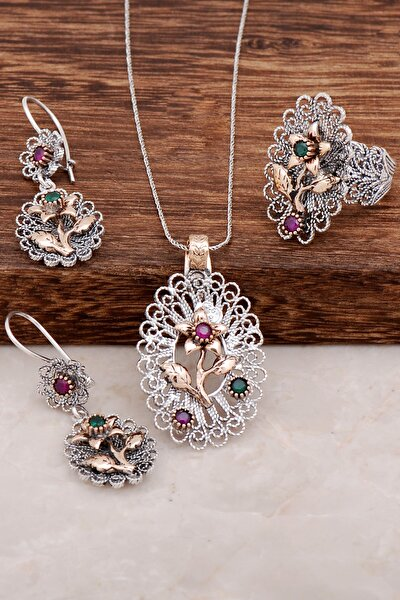 Çiçek Tasarım Telkari Gümüş Set 2000
