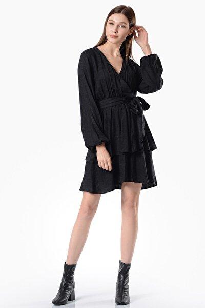 Kadın Siyah Kruvaze Mini Elbise 5312-1335AZ