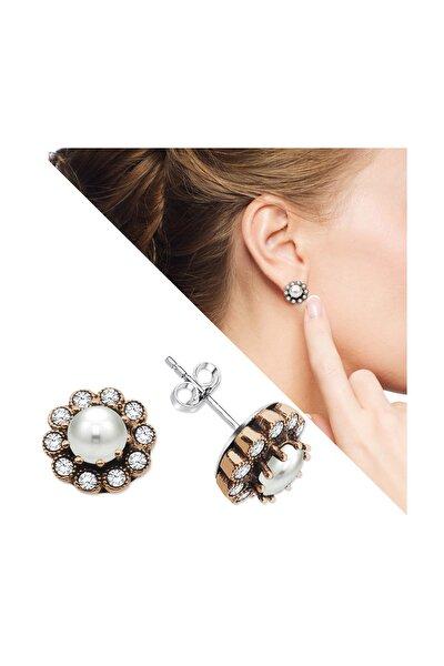 Beyaz Zirkon Taşlı Çiçek Tasarım 925 Ayar Gümüş İnci Küpe 107000044