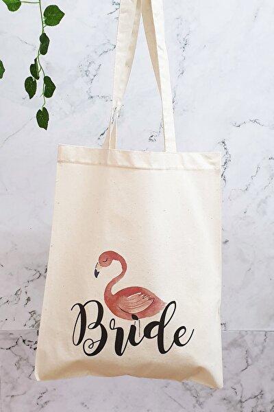 Bride Yazılı Flamingo Baskılı Bez Çanta