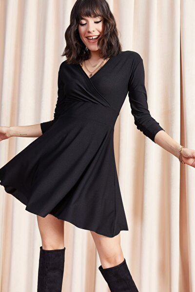 Kadın Siyah Kruvaze Elbise ELB-19000943