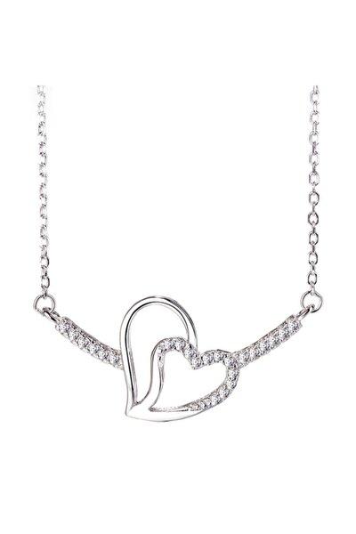 Gümüş Çift Kalp Çubuk Model Bayan Gümüş Kolye