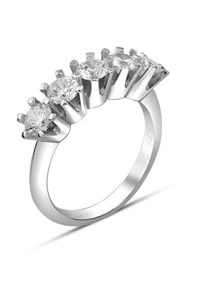 Kadın 925 Ayar V Tırnaklı Beştaş Gümüş Yüzük