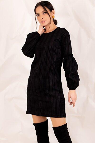 Kadın Siyah Kolu Balonlu Kadife Elbise ARM-20K001107