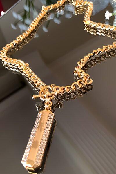 Kadın Altın Özel Tasarım Zirkon Taşlı Çelik Kolye