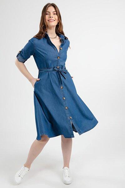 Kadın Kuşaklı Uzun Kollu Kot Gömlek Elbise Y20s110-1924