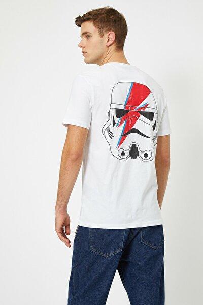 Erkek Beyaz Star Wars Lisansli Baskili T-Shirt 0YAM11916CK