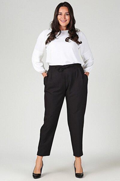Büyük Beden Siyah Beli Lastikli Havuç Pantolon