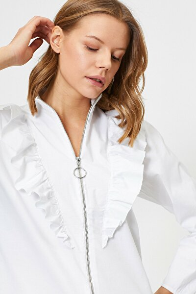 Fermuar Detayli Volanli Uzun Kollu Bluz