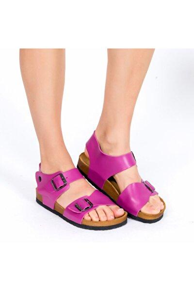 Hakiki Deri Pembe Kadın Sandalet
