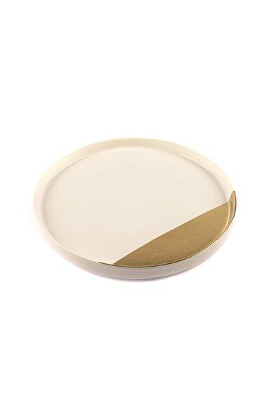 Porselen Beyaz Gold Yuvarlak Servis 29cm