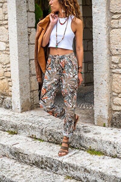 Kadın Haki Beli Lastikli Cepli Dar Paça Salaş Pantolon GK-CCKCC4003