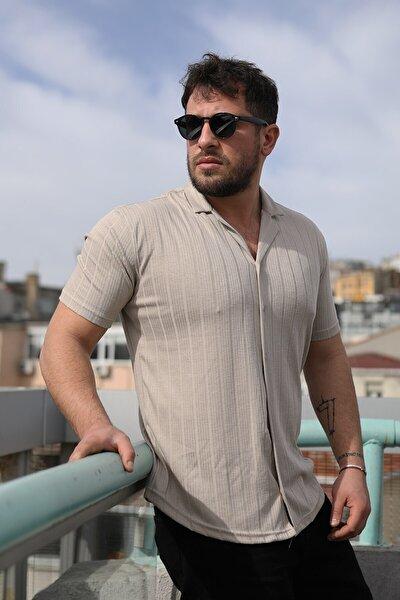 Erkek Bej Desenli Pamuklu Yazlık Kısa Kollu Gömlek