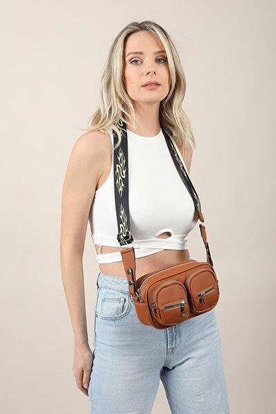 Aynı Butikte 2. Ürün 1 TL Taba Kadın Saten Kumaş Fermuar Detaylı Çapraz Çanta