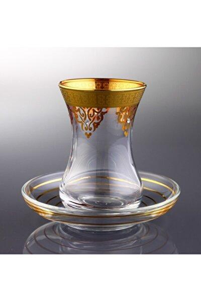 Ottoman 6 Kişilik Dekorlu Çay Bardağı Takımı-gold
