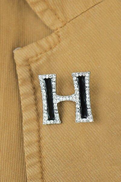 H Harfli Taşlı Broş