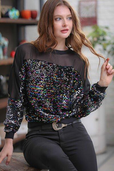 Retro Omuzları Mesh Detaylı Mix Renkli Pul Payet Işlemeli Bluz