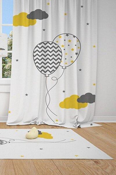 1 Kanat Uçan Balon, Yıldız , Bulut Çocuk Bebek Odası Perdesi Fon Perde