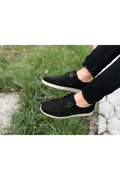 Erkek  Hakiki Deri Siyah Nubuk Ortopedik Ayakkabı