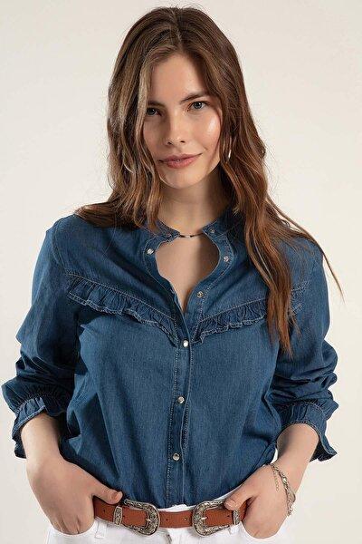 Kadın Fırfırlı Uzun Kollu Kot Gömlek Y20s110-3799