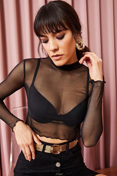 Kadın Siyah Tül Bel Üstü Transparan Bluz BLZ-19000807