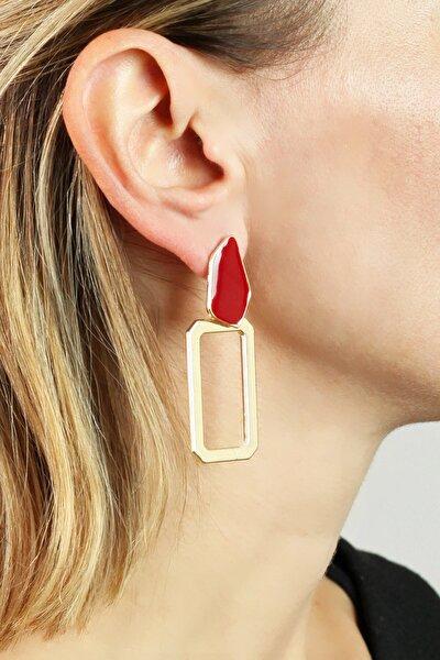 Kadın Gold Kırmızı Küpe