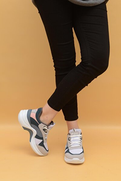 Kadın Pembe Yüksek Taban Sneaker Ayakkabı 601