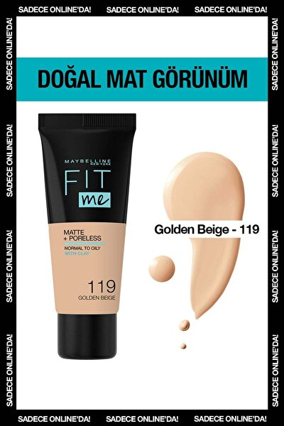 Mat Fondöten - Fit Me Matte + Poreless Fondöten 119 Golden Beige 3600531551018