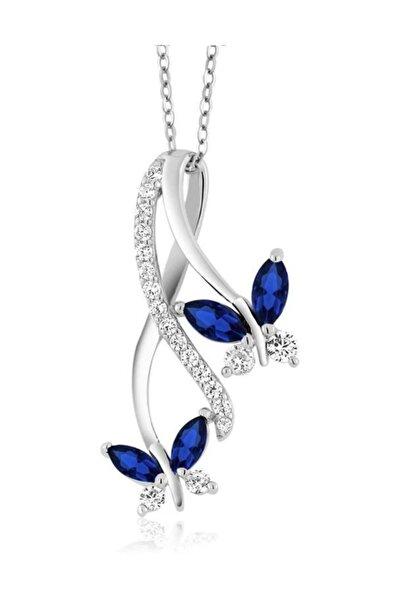 Sonsuzluk Pırlanta Model Safir Taşlı Kelebek Kadın Gümüş Kolye