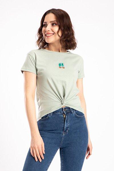 Kaktüs Nakışlı Bağlamalı Mint Tişört 19891