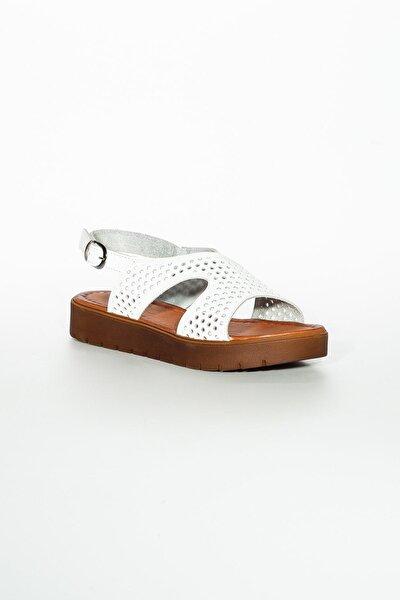 Hakiki Deri Beyaz Kadın Sandalet