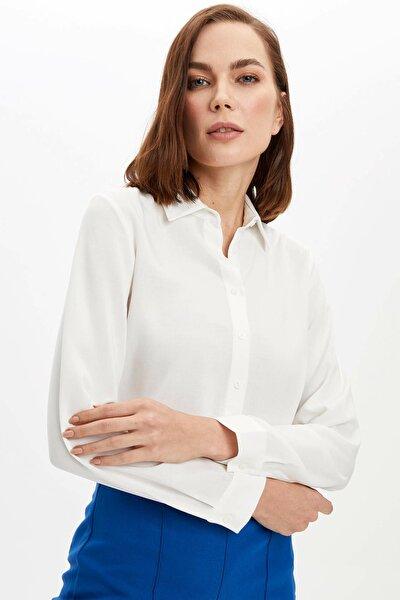Kadın Ekru Basic Uzun Kollu Gömlek