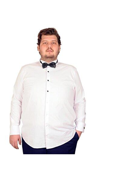 Büyük Beden Erkek Damatlık Ata Yaka Gömlek Beyaz 18367