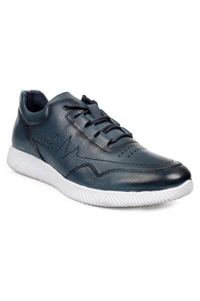11118 Hakiki Deri Bağlı Mavi Erkek Ayakkabı