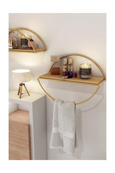 Duvar Rafı Dekoratif Mutfak Banyo Altın Elips Kitaplık