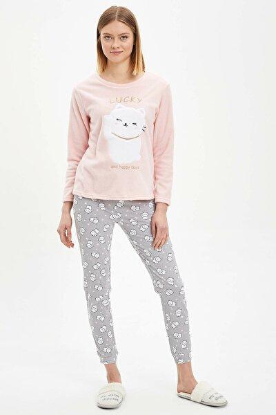 Kadın Gri Baskılı Pijama Takımı